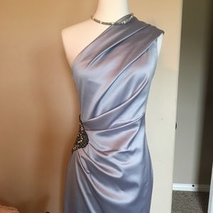 Gray satin cocktail dress w/jewel, size 4
